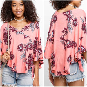 NWOT Free People Maui Wowie Palm Print Shirt Top